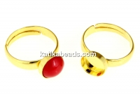 Ring base, gold-plated 925 silver, adjustable, for pearl cabochon 8mm - x1