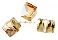 Swarovski, cube cabochon, golden shadow comet argent, 6mm - x1