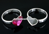 Ring base, 925 silver, heart, cabochon 10mm, inside 16.3mm - x1