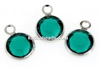 Swarovski, rhodium-plated charm, disk, emerald, 9.5mm - x4