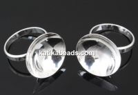 Ring base, 925 silver, crystal setting, cup 20mm, 18.4mm - x1