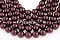 Swarovski pearls, burgundy, 14mm - x2