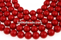 Swarovski pearls, red coral, 14mm - x2