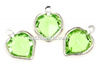 Swarovski, rhodium-plated pendant, heart, peridot, 15mm - x2