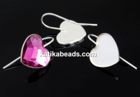 Earring findings, 925 silver, heart, cabochon 14mm - x1pair