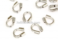 Wire protector, rhodium-plated 925 silver, 5mm - x4