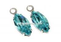 Swarovski, rhodium-plated pendant, navette chaton, light turquoise, 13mm - x1