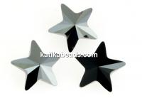 Swarovski, fancy star, jet hematite, 5mm - x2