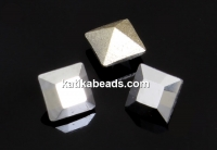 Swarovski, fancy chaton square, light chrome, 3mm - x10