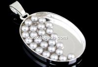 Swarovski no hole pearls, light grey, 1.5mm - x50