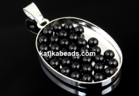 Swarovski no hole pearls, mystic black, 3mm - x50