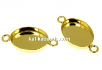 Link, base, gold-plated 925 silver, cabochon 14x10mm - x1