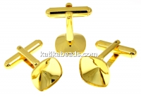Cufflink base, gold-plated 925 silver, Swarovski 4470 and 4461 12mm - x1pair