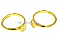 Ring base, gold-plated 925 silver, tray 7.5mm, adjustable- x1