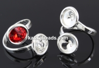 Ring base, rhodium-plated 925 silver, 2 Swarovski rivoli 8-8mm - x1