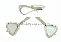 Pendant base, 925 silver, cabochon Swarovski 4841 cube 4mm - x1