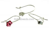 Earring findings, 925 silver, rivoli Swarovski flower 6mm - x1pair
