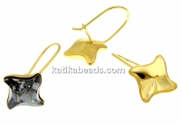 Earring findings, gold-plated 925 silver, rhombus, for Swarovski 4485 10.5mm - x1pair