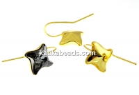 Earring findings, gold-plated 925 silver, square, for Swarovski 4485 10.5mm - x1pair