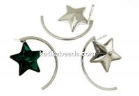 Earring findings, rhodium-plated 925 silver, fancy rivoli star 10mm - x1pair