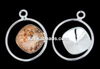 Pendant base, 925 silver, for Swarovski square 10mm, dr- x1