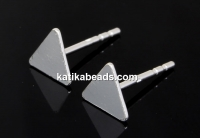 Earring findings, triangle, 925 silver, 11.5mm - x1pair