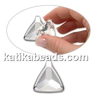Swarovski pendant base 4727, silver-plated, pentru 23mm