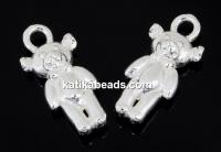 Pendant, teddy bear 925 silver, 15mm - x1