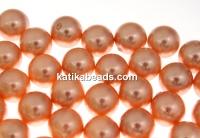 Swarovski one hole pearls, rose peach, 12mm - x2