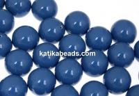 Swarovski one hole pearls, lapis pearl, 10mm - x2