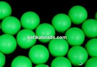 Swarovski one hole pearls, neon green, 12mm - x2