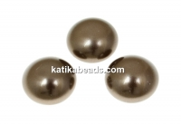 Swarovski, crystal pearl cabochon, brown, 6mm - x2