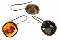 Swarovski vintage copper-plated earrings base 4461 and 4470, 12mm - x1pair