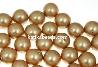 Swarovski one hole pearls, vintage gold, 6mm - x4