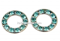 Swarovski, rhodium-plated disk, light turquoise, 15.5mm - x1