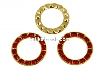 Swarovski, gold-plated disk, light siam, 15.5mm - x1