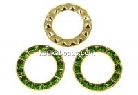 Swarovski, gold-plated disk, fern green, 15.5mm - x1