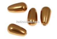 Swarovski drop pearls, copper, 15x8mm - x2