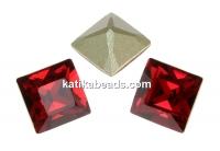 Swarovski, fancy chaton square, scarlet, 2mm - x20