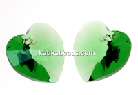 Swarovski, heart pendant, erinite, 14mm - x2