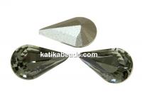Swarovski, fancy rivoli Pear, black diamond, 10mm - x2