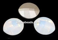 Swarovski, fancy rivoli, pure leaf, white opal, 10mm - x1