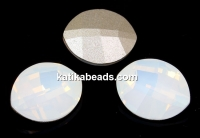 Swarovski, fancy rivoli, pure leaf, white opal, 14mm - x1