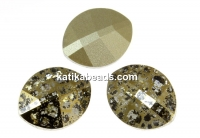 Swarovski, fancy rivoli, pure leaf, gold patina, 14mm - x1