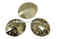 Swarovski, fancy rivoli, pure leaf, gold patina, 14mm - x1