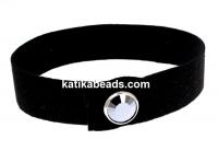 Alcantara bracelet, black with Swarovski jet hematite-silver plated