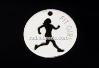 Coin, charm, 925 silver, running girl, 10mm - x1