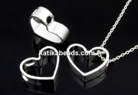 Pendant, heart, 925 silver, 11mm - x1