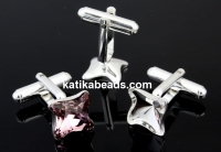Cufflink, base,square, 925 silver, Swarovski 4485 10.5mm - x1pair