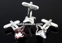 Cufflink, base,square, 925 silver, Swarovski 4485 10.5mm - x1pair